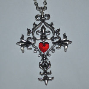 Jewelry - Silver Sacred Heart Cross Necklace